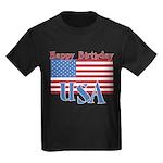 4th of July Happy Bday Kids Dark T-Shirt