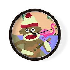 Sock Monkey Ukulele & Flamingo Wall Clock
