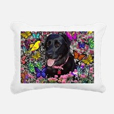 Abby the Black Lab in Bu Rectangular Canvas Pillow