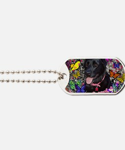 Abby the Black Lab in Butterflies Dog Tags