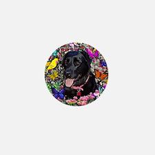 Abby the Black Labrador in Flowers Mini Button