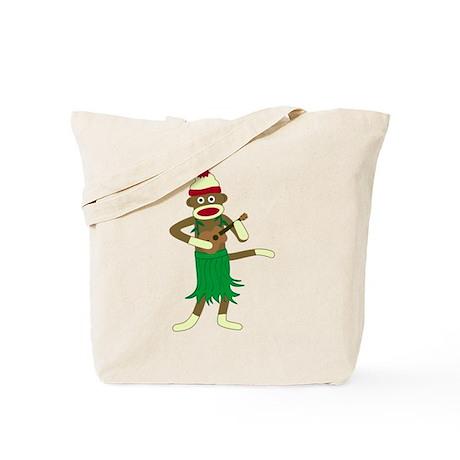 Sock Monkey Ukulele Hula Tote Bag