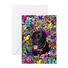 Abby the Black Lab in Butterflies Greeting Card