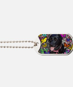 Abby the Black Labrador in Butterflies Dog Tags