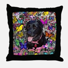 Abby the Black Labrador in Butterflie Throw Pillow