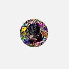 Abby the Black Labrador in Butterflies Mini Button