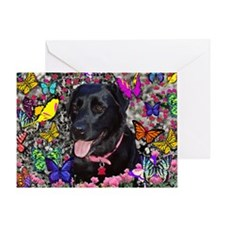 Abby the Black Labrador in Butterfli Greeting Card