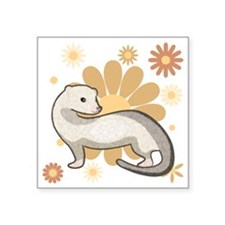 "White Marked Ferret Square Sticker 3"" x 3"""