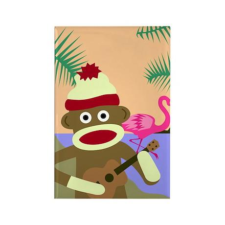 Sock Monkey Ukulele & Flamingo Rectangle Magnet