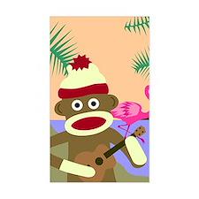Sock Monkey Ukulele & Flamingo Decal