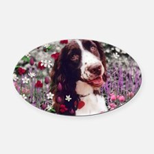 Lady the Brittany Spaniel in Flowe Oval Car Magnet