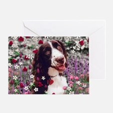 Lady the Brittany Spaniel in Flowers Greeting Card