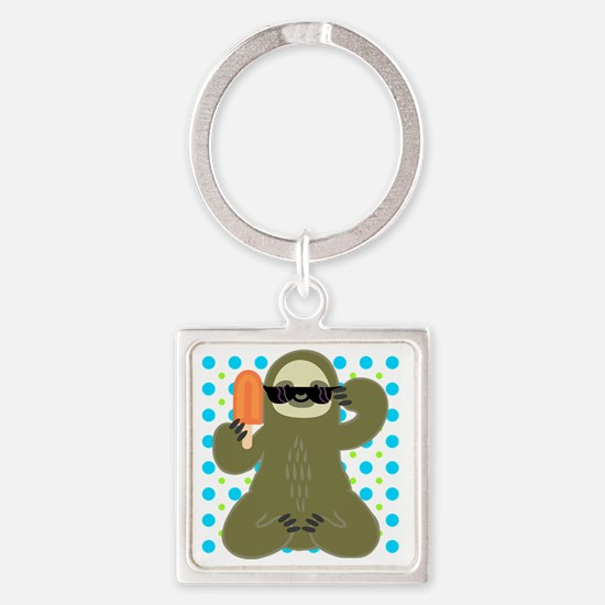 Ice Cold Slothsicle Square Keychain
