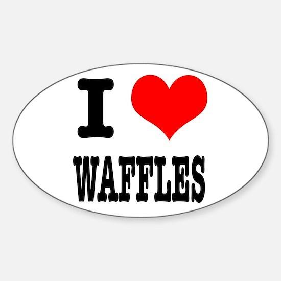 I Heart (Love) Waffles Oval Decal