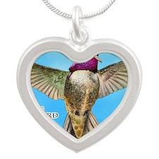 Costas Hummingbird Silver Heart Necklace