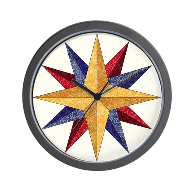 Mariner's Compass Wall Clock by quiltpox