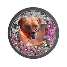Trista the Rescue Dog in Flowers Wall Clock