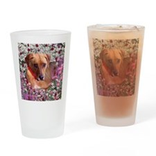 Trista the Rescue Dog in Flowers Drinking Glass