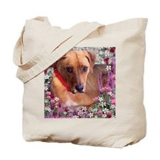 Trista the Rescue Dog in Flowers Tote Bag