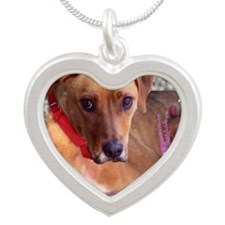 Trista the Rescue Dog in Flo Silver Heart Necklace