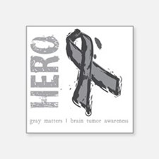 "Large Grey Ribbon Square Sticker 3"" x 3"""