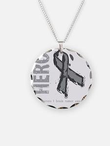 Large Grey Ribbon Necklace