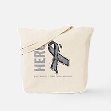Large Grey Ribbon Tote Bag