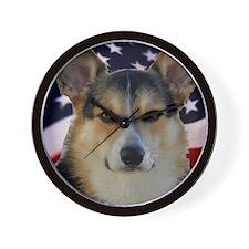 Corgi with American Flag Wall Clock