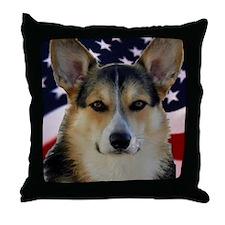 Corgi with American Flag Throw Pillow