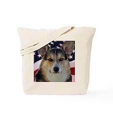 Corgi with American Flag Tote Bag