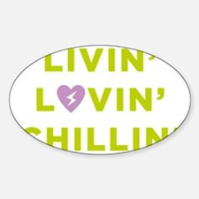 Lime  purple heart Sticker (Oval)