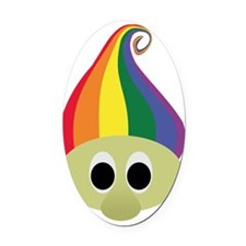 trolls rainbow hair Oval Car Magnet