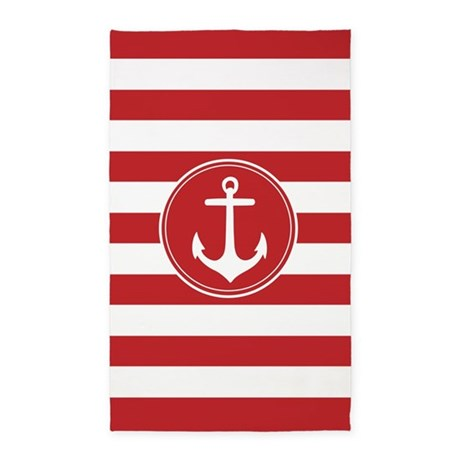 Red nautical anchor stripes 3'x5' Area Rug