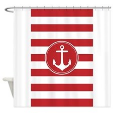 Red nautical anchor stripes Shower Curtain