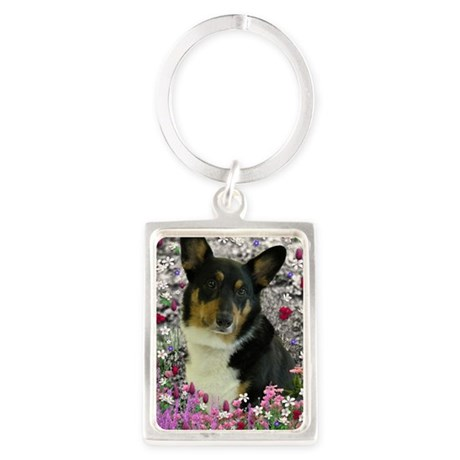 Sebastian the Welsh Corgi in Flo Portrait Keychain