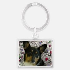 Sebastian the Welsh Corgi in Fl Landscape Keychain