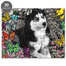 Irie the Siberian Husky in Butterflies Puzzle