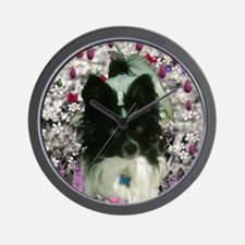 Matisse the Papillon in Flowers Wall Clock