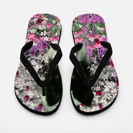 Matisse the Papillon in Flowers Flip Flops