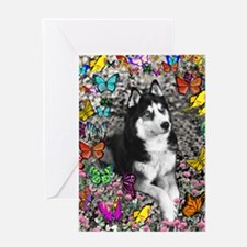 Irie the Siberian Husky in Butterfli Greeting Card