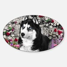 Irie the Siberian Husky in Flowers Sticker (Oval)