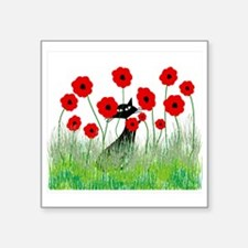 "black cat poppies Square Sticker 3"" x 3"""
