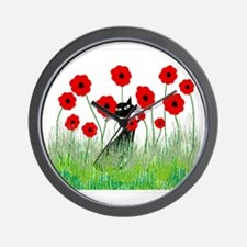 black cat poppies Wall Clock