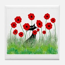 black cat poppies Tile Coaster