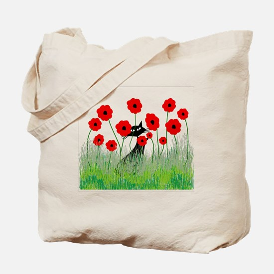 black cat poppies Tote Bag