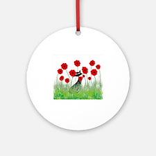 black cat poppies Round Ornament