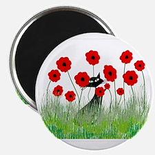 black cat poppies Magnet