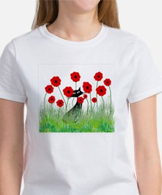 black cat poppies Tee