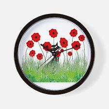 black cat poppies Wall Clock