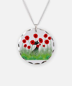black cat poppies Necklace